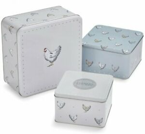 Set of 3 FARMERS Chickens Hens SQUARE CAKE STORAGE TINS Farm Biscuits Caddies
