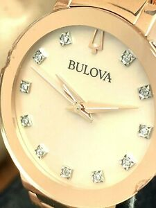 Bulova Women's Watch 97P132 Diamond Dial Rose Gold Tone Stainless Steel CHIPPED