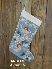 Angels & Roses New Needlepoint Christmas Stocking with Embroidery Included