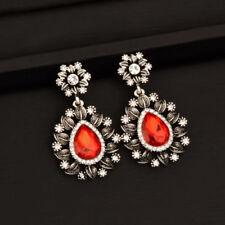 Retro Black/Red Rhinestone Teardrop Earrings For Women Vintage Jewelrry 2017 New