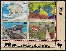 United Nations - Geneva 301a BR Block MNH Polar Bear, Pigeon, Iguana, Lama