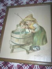 William Hoffman Oil on Canvas Vintage Painting Children Kids Fishing Framed Art