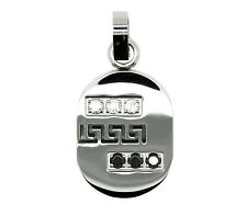 Womens Small CZ Charm Dog Tag Pattern Unique Fashion Pendant Stainless Steel