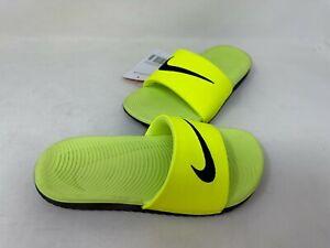 NEW! Nike Youth Boy's Kawa Slide Sandals Neon Yellow/Black #819352-700 200E z