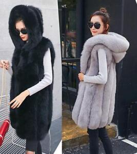 Winter Luxury Women's Faux Fox Fur Hooded Vest Coat Comfort Long Warm Waistcoat