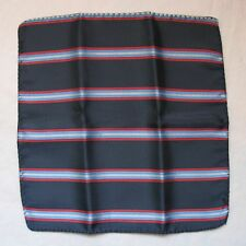 "Men's Suit Jacket Handkerchief Striped 9-1/2"" Square 100% Satin Polyester / Navy"