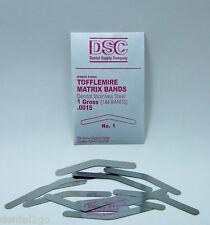 Tofflemire Matrix Bands, 144 Dental Matrix bands, No 1  .0015 Gross Pack