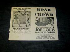Orig 1953 Roar Of The Crowd Joe Louis Movie Broadside #1B