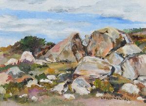 6 x 8 inch Original Oil Painting, Santee Rocks, Signed Lydia Velarde, Framed