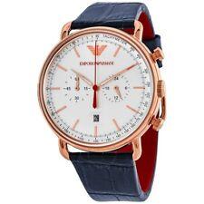 Emporio Armani AR11123 Aviator Chronograph Black Leather Strap Men's Wrist Watch