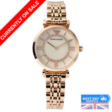 NEW Emporio Armani AR1909 Gianni T-Bar Ladies Rose Gold Pearl Face Women Watch