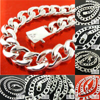 Necklace Chain 925 Sterling Silver Filled Solid Men's Heavy Curb Figaro Design