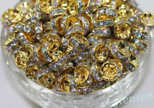 New 50/100Pcs Acrylic Gold Plated Spacer Loose Beads Charms Jewelry Findings 8mm