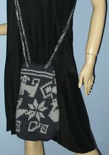 2-TONE GRAY CROCHET KNIT CROSSBODY PURSE SHOULDER BAG - HANDMADE IN ECUADOR NEW