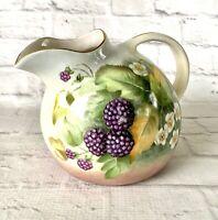 Hand Painted Ceramic Pitcher Blackberry Vines Leaves Vintage Handmade Gold Trim