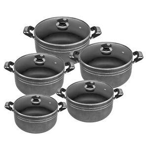 5pc  NonStick Ceramic Cast Stock pot Deep Casserole Set Cooking Pot 20cm to 28cm