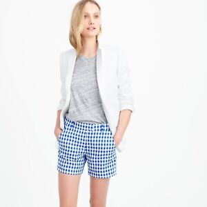 J Crew Women's Size 2 LightWeight Gingham Linen Shorts