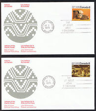Set of 2 Canada First Day Covers - Indians of Canada 1974 Stamps sg725 & sg726