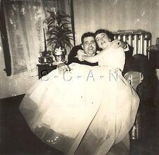 Original Vintage 1950s Wedding RP- Bride Sits On Happy Grooms Lap- Dress- 1950
