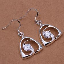 Silver Plated Drop Triangle Earring & Cubic Zirconia STAMPED 925 Sterling Silver