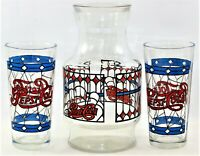Pepsi Cola Carafe Pitcher & Glass Set TIffany Style Set Of 3 Vintage 1970s