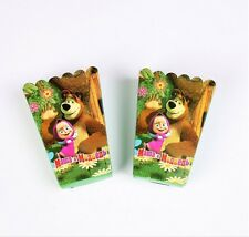 12pcs Masha Bear Popcorn Snack Boxes Birthday Party Supplies Favors Gifts Bag