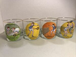 4 Vintage Tennis Funny Cartoon Low Ball Whiskey Tumblers Gold Rim Glasses Used Y
