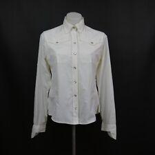 Mcloudveil Medium White Western Pearl Snap Long Sleeve Outdoor Summer Shirt