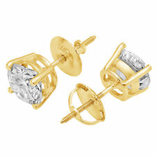 3.9ct Round Cut Stud Solitaire Earrings Gift Solid 14k Yellow Gold Screw Back