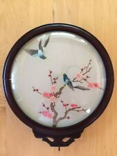 Asian double sided embroidery on silk birds and blossums bowed glass round frame