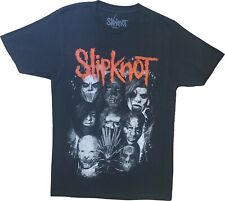 New Men's Slipknot Grey Faces Heavy Metal 90s Band Black T-Shirt Tee