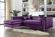 Button Tufted Left Facing Sectional Sofa Purple : purple sectional couch - Sectionals, Sofas & Couches