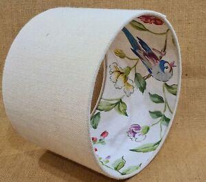 SALE Sanderson Sissinghurst hessian bird floral fabric drum ceiling lampshade 30