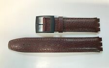 Replacement 17mm Leather Watch Strap in Brown for Swatch Black Buckle
