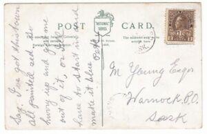 1917 2¢ Postcard Turtleford-Warnock (Unreported Split Ring) Saskatchewan