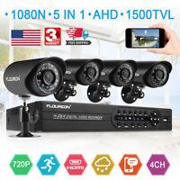 FLOUREON 5 In 1 4CH 1080N AHD DVR Outdoor 1500TVL Security Camera System IR-CUT