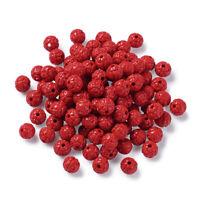 100 Pcs Round Carved Bud Mixture Cinnabar Resin Beads Antique FireBrick Red 6mm
