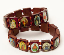 Saint Bead Bracelet Wood Stretch Elastic Religious Mary Jesus Angel
