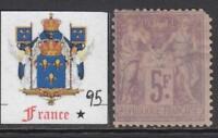 France - 1877  Sage  5Fr Yv 95  MH* cv 650$