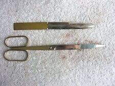 "Vintage SOLINGEN 9"" Gold Plated Scissors Shears Germany w/ Letter Opener"