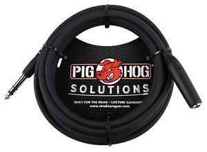 """10' Headphone Extension Cable TRS 1/4"""" Female to TRS 1/4"""" Male Pig Hog PHX14-10"""