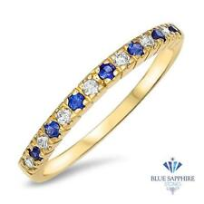 0.25ct. Round Natural Blue Sapphire and 0.15ctw Diamond Stackable Ring in 14K YG