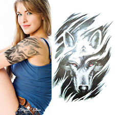 Red-eyed Wolf Temporary Tattoo - Realistic Waterproof Transfer Mens Womens Kids