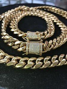 Men's Miami Cuban Link Bracelet & Chain Combo Set Gold Plated Diamond Clasp