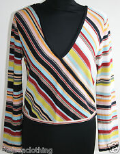 1980s True Vintage SONIA RYKIEL Jumper Striped V-Neck UK10/S Multi-Coloured Top