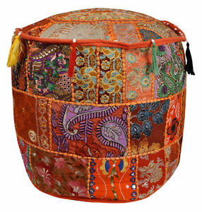 """18"""" Beautiful Round Ottoman Indian Patchwork Pouffe Indian Traditional Cover"""