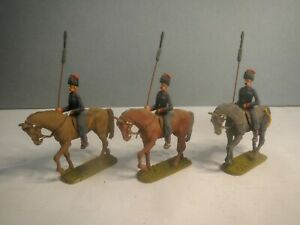 Britains ? Napoleonic 3x Russian Cossacks 1/32 54mm painted metal toy soldiers