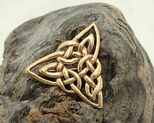 CELTIC KNOT BROOCH PIN, IRISH, BRONZE, TRIANGLE, GOLD, SCARF KILT LAPEL, IRELAND