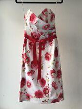 ROSEBURG Womens Floral Part-lined Boned Strapless Cocktail Dress, Size M