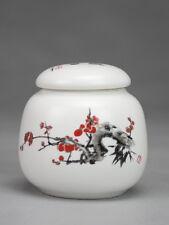 "Porzellan-Teedose klein ""Pflaumenblüte"", chinesische Keramik mit Aromaverschluss"